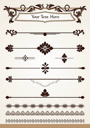 Vintage page dividers borders decorations and design elements Illustration