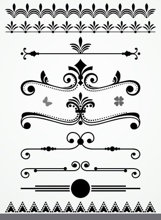 bordure de page: Page et texte diviseurs, les frontières et les décorations