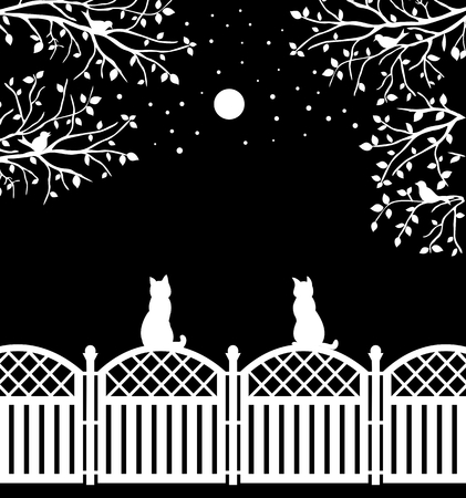 Rustic fence with cats, birds, moon and branches, flat vector design Illustration