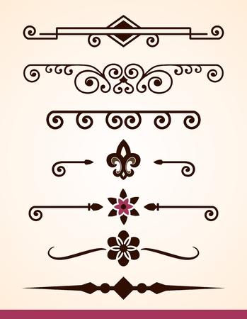 Page et texte diviseurs et des éléments de décoration Vecteurs