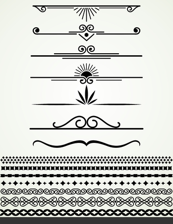 Black and white borders and dividers Illustration
