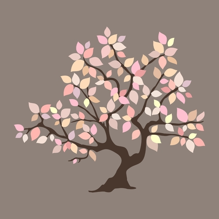 Abstract tree with romantic pink leaves