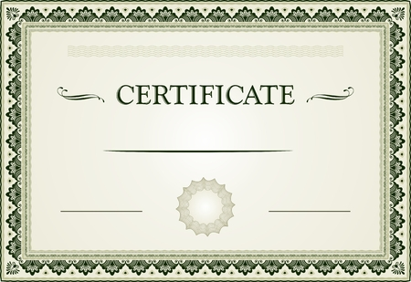 Ornamental certificate border and template Illustration