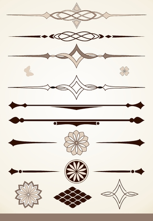 Decorative design elements and page or text dividers Vector Illustration