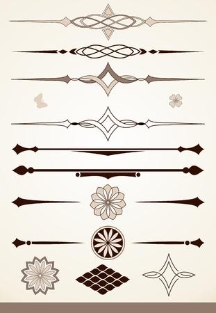 Elementos de diseño decorativo y divisores de página o texto Ilustración de vector