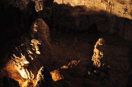 glowworm: Stalagmites in the Waitomo caves, New Zealand Stock Photo