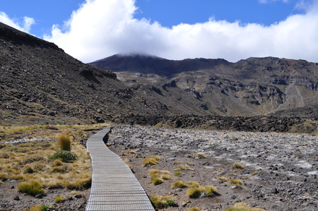 Landscape of the Tongariro Alpine Crossing in New Zealand