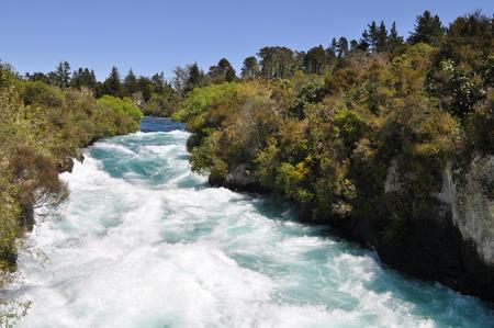 Water at Huka Falls in New Zealand Stock Photo