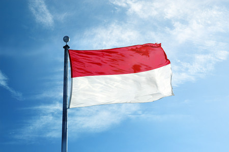 Indonesia flag on the mast
