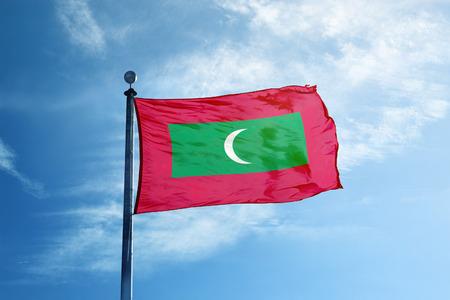 Maldives flag on the mast Stock fotó