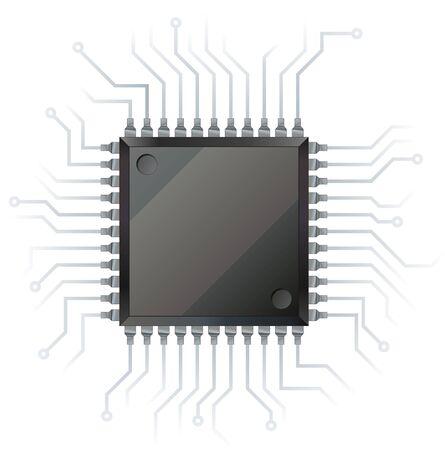 circuito integrado: Chip procesador de la computadora electr�nica de nodo