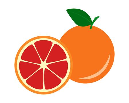 Flat icoon fruit rode grapefruit