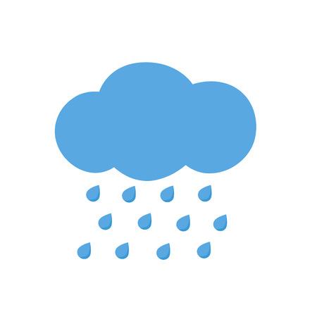 Icona nube con gocce di pioggia. Illustrazione vettoriale. Vettoriali