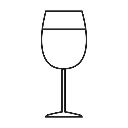 라인 아이콘 유리 와인입니다. 벡터 일러스트 레이 션.