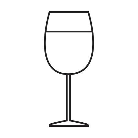 Line icon glass of wine. Vector illustration.