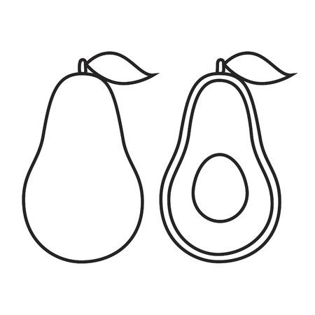 aguacate: icono de la l�nea fruto de aguacate con la hoja. Ilustraci�n del vector.