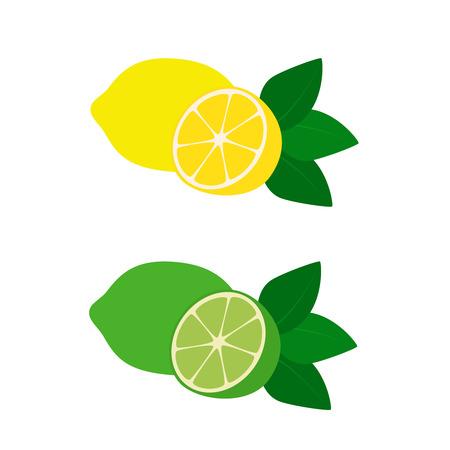 Flat icono de frutas de limón y lima. Ilustración del vector.