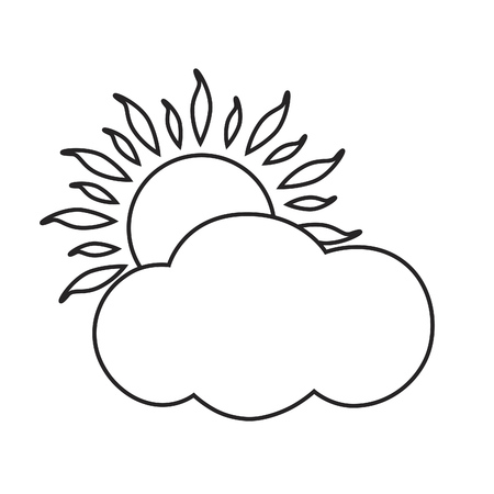 sky sun: Line icon sunny and cloudy day. Vector illustration. Illustration
