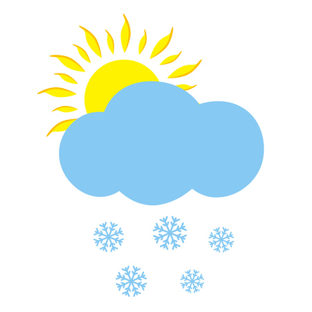 meteorologist: Icon cloud with sun and snowflakes. Vector illustration.