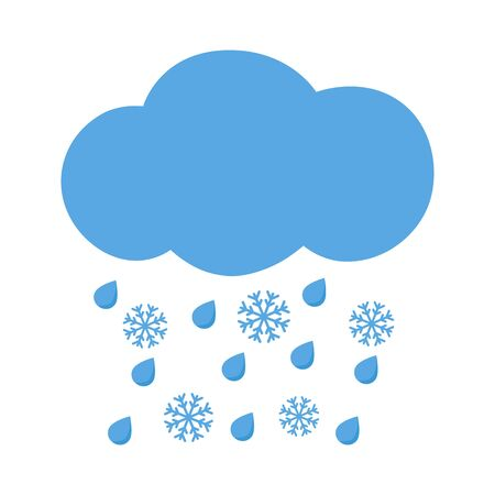 meteorologist: Icon cloud with rain drops and snowflakes. Vector illustration.