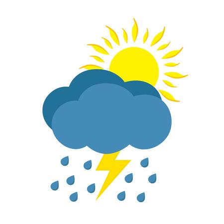 rainy day: Sunny and rainy day with storm. Weather icon isolated on white background. Illustration