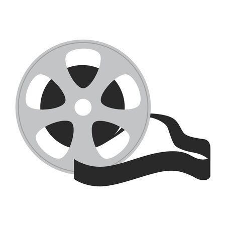 Platte pictogram filmtape op witte achtergrond. Vector illustratie.