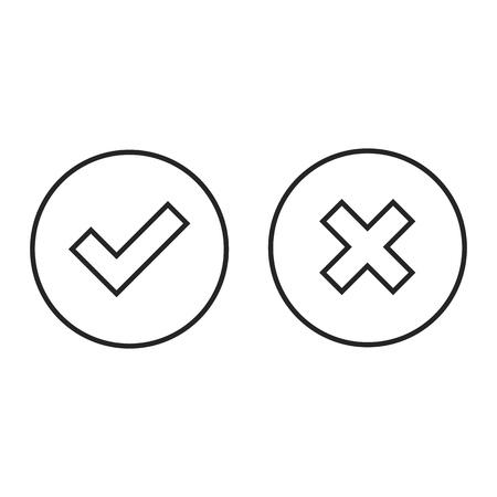 conjunto de botones de línea de validación checkmark y cerrar.