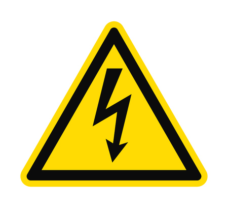 caution: Flat icon danger high voltage. Black arrow in yellow triangle isolated on white background. Vector illustration.