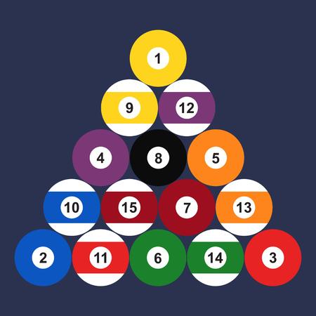 Flat set of billiard balls. Vector illustration.
