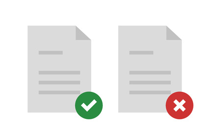 rejected: Approved and rejected document. Vector illustration.