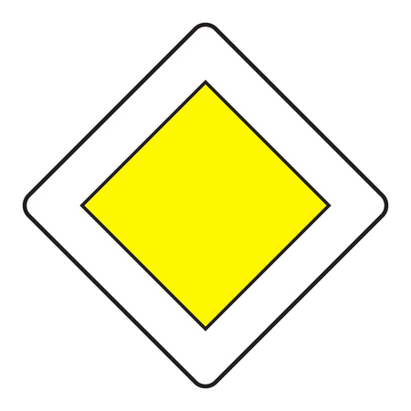 road traffic: Traffic sign priority road isolated on white background. Vector illustration.