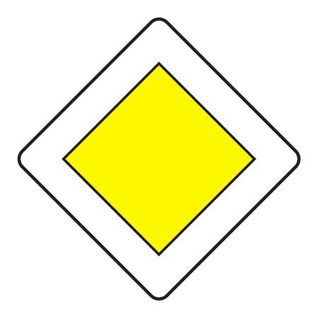 Verkeer prioriteit teken weg op een witte achtergrond. Vector illustratie.