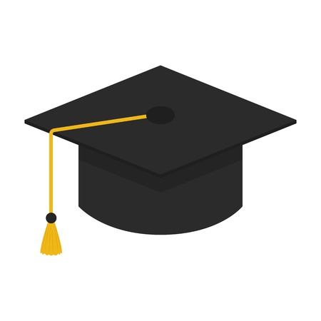 final college: Flat icon graduation cap isolated on white background. Vector illustration.