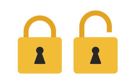 Flat icoon vergrendeld en ontgrendeld hangslot. Lock icoon. Vector illustratie. Stockfoto - 64432038