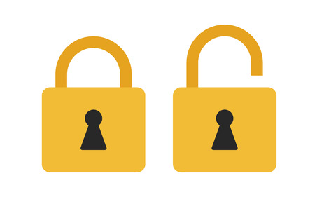 Flat icon locked and unlocked padlock. Lock icon. Vector illustration.