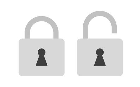 single entry: Flat icon locked and unlocked gray padlock. Lock icon. Vector illustration.