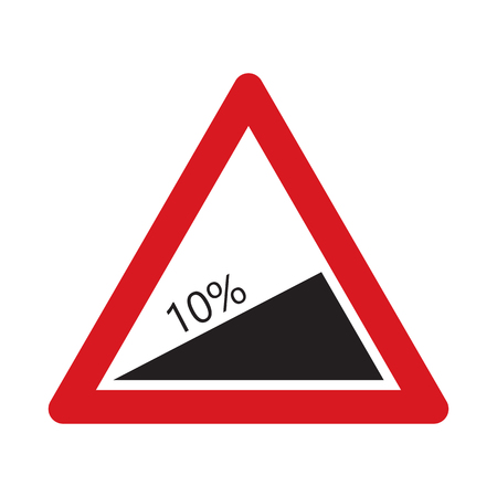 steep: Traffic sign steep descent. Vector illustration.