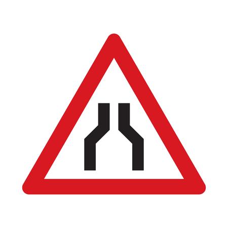 narrows: Traffic sign road narrows on both sides. Vector illustration. Illustration