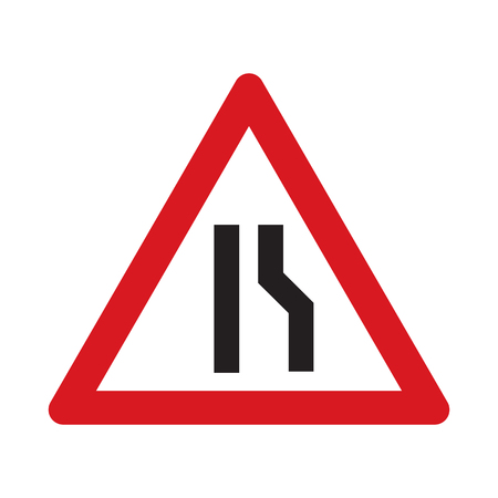 narrows: Traffic sign road narrows. Vector illustration.
