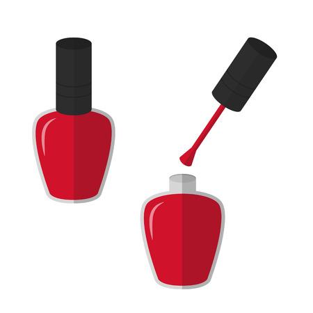 Flat icon red nail polish. Vector illustration.