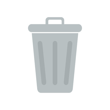 Flat icon closed trash can isolated on white background. Vector illustration.