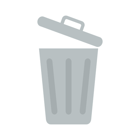 Flat icon opened trash can isolated on white background. Vector illustration.