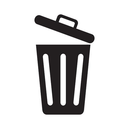 Icono de bote de basura abierto aislado sobre fondo blanco. Ilustración vectorial. Ilustración de vector
