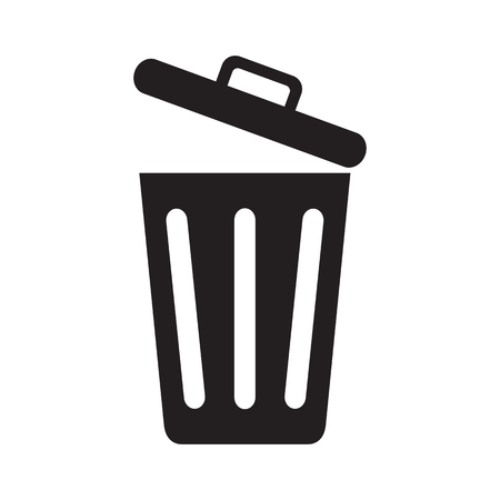Icon opened trash can isolated on white background. Vector illustration.