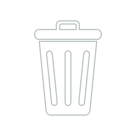 Line icon closed trash can isolated on white background. Vector illustration. Illustration