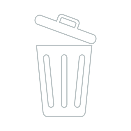 Line icon opened trash can isolated on white background. Vector illustration.
