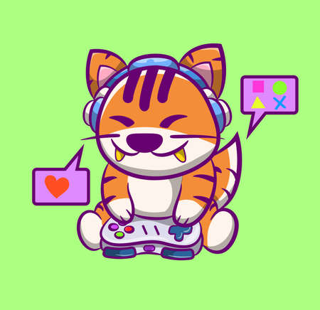 Cute colorful designer tiger,with his headset while playing online with his little friends. Ilustração Vetorial