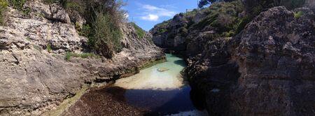 den: River at Cala den Brut Stock Photo