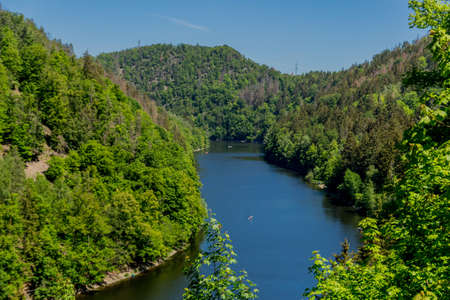 Hike around the Hohenwarte Dam at the Thuringian Sea near Ziegenrueck - Germany