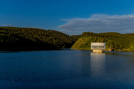 Hike around narrow water dam in the Thuringian Forest near Tambach-Dietharz - Germany